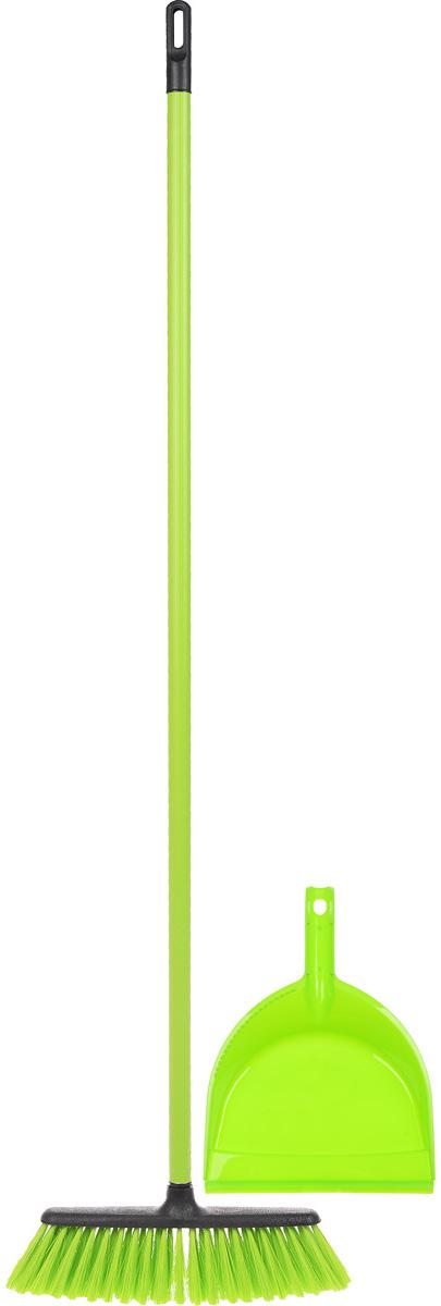 Набор для уборки Centi Tandem, цвет: салатовый, черный, 2 предмета8216_салатовый/черныйНабор Centi Tandem состоит из совка и щетки- метелки, изготовленных из высококачественного пластика и сложных полимеров. Вместительный совок удерживает собранный мусор и позволяет эффективно и быстро совершать уборку в любом помещении. Сглаженный край совка обеспечивает наиболее плотное прилегание к полу. Щетка-метелка имеет удобную форму, позволяющую вымести мусор даже из труднодоступных мест. Все предметы набора оснащены ручками с отверстиями для подвешивания. С набором Centi Tandem уборка станет легче и приятнее. Общая длина щетки-метелки: 117 см. Длина ворса щетки-метелки: 7 см. Длина совка: 32 см. Размер рабочей части совка: 21 х 16 х 6 см.