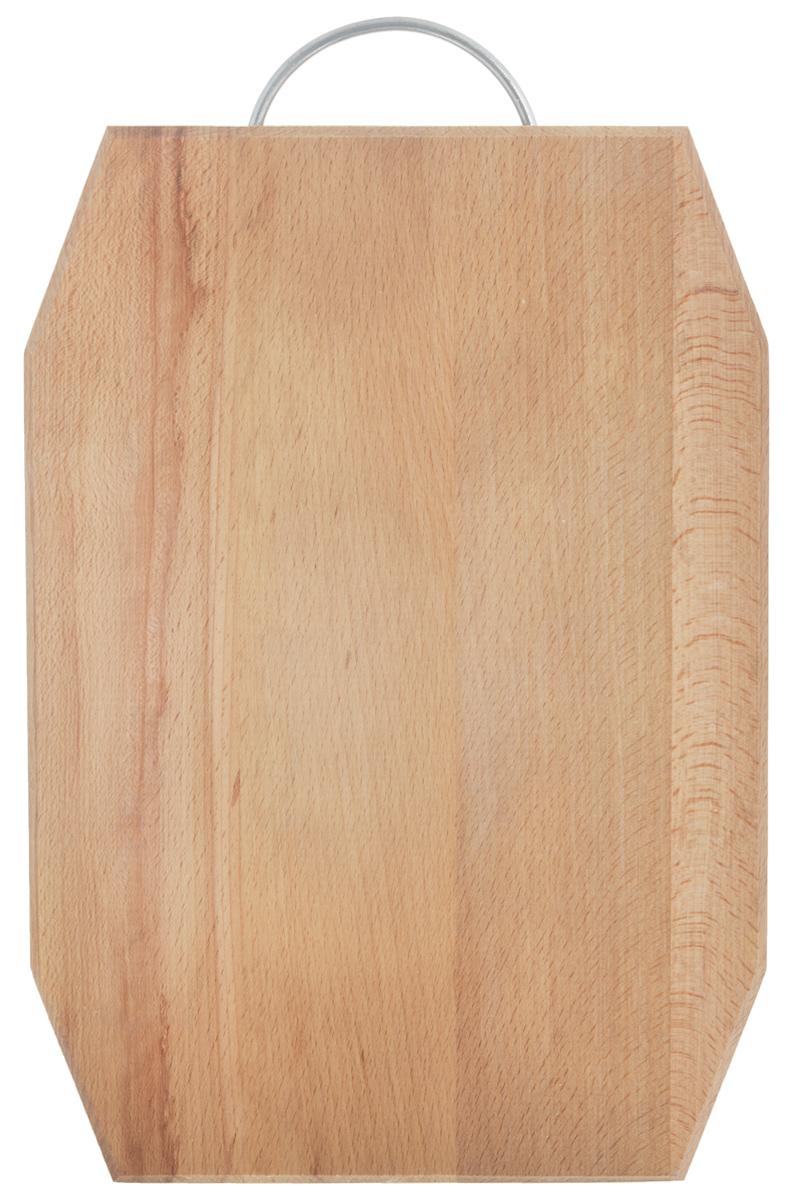 Доска разделочная Хозяюшка, с ручкой, 35 х 25 см. 07-307-3Разделочная доска Хозяюшка изготовлена из бука. Бук наряду с дубом и тиком относится к ценным твердолиственным породам элитной группы категории А, класса люкс. По структуре древесины бук считается менее рыхлым, чем дуб, и более гибким, чем тик, при этом не уступает по прочности этим двум породам, а по красоте даже превосходит их. Бук отличают, прежде всего, уникальная текстура и естественный белый с желтовато-красным оттенком, со временем переходящим в розовато-коричневый, цвет древесины. Бук прекрасно поддается шлифовке и полировке. Бук боится влаги, но, как в случае со всеми без исключения досками из древесины, вопрос влагостойкости решается пропиткой дерева специальным минеральным или льняным маслом. Масло защищает доску от коробления, рассыхания и растрескивания. Именно поэтому все доски Хозяюшка обработаны льняным маслом и упакованы в пленку. Разделочная доска имеет фигурную форму, оснащена металлической ручкой. Нельзя мыть в посудомоечной машине....