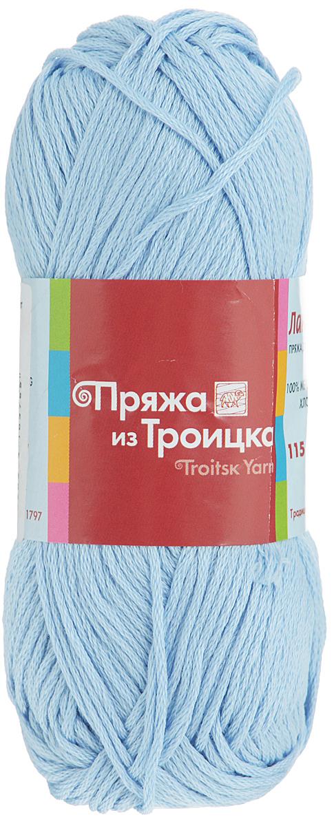 Пряжа для вязания Ландыш, цвет: бледно-голубой (0272), 115 м, 50 г, 10 шт366131_0272Пряжа Ландыш изготовлена из 100% мерсеризованного хлопка и предназначена для ручного вязания. Пряжа, прошедшая обработку под названием мерсеризация, приобретает блеск, ее легко окрасить в яркие устойчивые цвета. Мерсеризованный хлопок мягкий и шелковистый, он хорошо впитывает влагу. Связанный трикотаж получается легкий, гладкий и красивый. С такой пряжей процесс вязания превратится в настоящее удовольствие. Рекомендуемый размер спиц: 3 мм. Состав: 100% мерсеризованный хлопок.