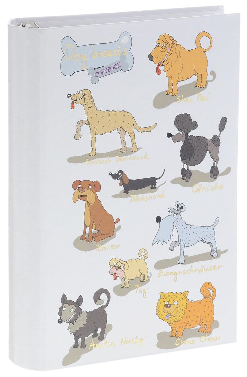 Listoff Тетрадь на кольцах Забавные собаки 120 листов в клеткуПБФ1204212Тетрадь на кольцах Listoff Забавные собаки подойдет для хранения важных записей по учебе, работе или для повседневных заметок. Обложка тетради выполнена из плотного картона и оформлена изображением задорных собак. Внутренний блок состоит из 120 листов качественной белой бумаги. Стандартная линовка в серую клетку без полей. Листы в блоке крепятся на четырех металлических кольцах.
