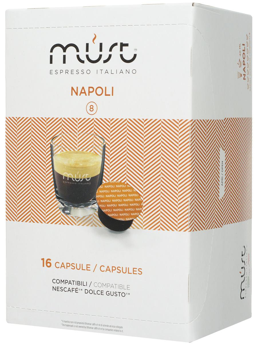 MUST DG Napoli кофе капсульный, 16 шт8056370761401Капсульный кофе MUST DG Napoli - это крепкий напиток с неповторимым вкусом, истинный эспрессо! Благодаря лучшим сортам африканской робусты и бразильской арабики получился ароматный насыщенный кофе с плотной и бархатистой пенкой.