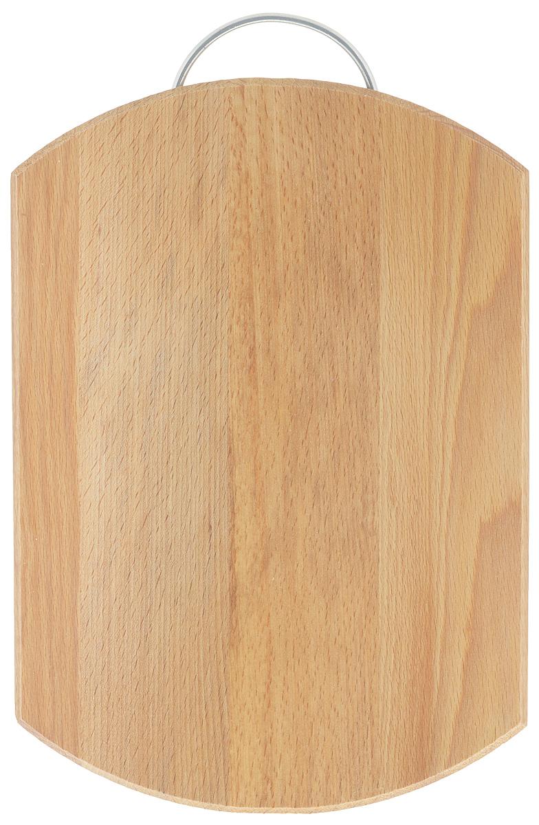Доска разделочная Хозяюшка, с ручкой, 35 х 24,5 см02-2Разделочная доска Хозяюшка изготовлена из бука. Бук наряду с дубом и тиком относится к ценным твердолиственным породам элитной группы категории А, класса люкс. По структуре древесины бук считается менее рыхлым, чем дуб, и более гибким, чем тик, при этом не уступает по прочности этим двум породам, а по красоте даже превосходит их. Бук отличают, прежде всего, уникальная текстура и естественный белый с желтовато-красным оттенком, со временем переходящим в розовато-коричневый, цвет древесины. Бук прекрасно поддается шлифовке и полировке. Бук боится влаги, но, как в случае со всеми без исключения досками из древесины, вопрос влагостойкости решается пропиткой дерева специальным минеральным или льняным маслом. Масло защищает доску от коробления, рассыхания и растрескивания. Именно поэтому все доски Хозяюшка обработаны льняным маслом и упакованы в пленку. Разделочная доска имеет форму бочки, оснащена металлической ручкой. Нельзя мыть в посудомоечной машине. Для...