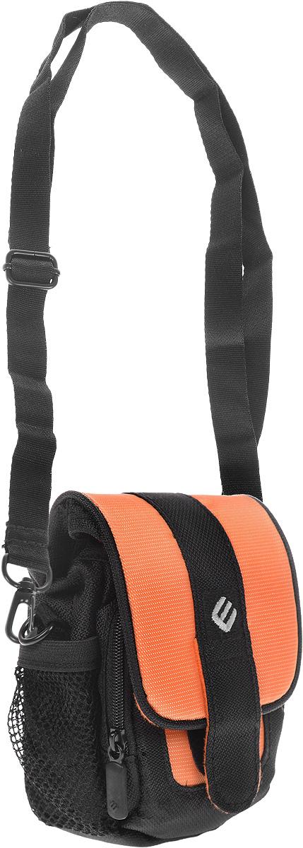 Сумка для фотокамеры Era Pro, цвет: черный, оранжевыйEP-011001_оранжевыйСумка Era Pro - полезная и незаменимая вещь, предназначенная для переноски и хранения компактных фотоаппаратов. Изделие выполнено из высококачественного нейлона. При помощи петли сумку можно носить на поясе. Также она оснащена съемным наплечным ремнем. Основное отделение закрывается при помощи клапана. Под клапаном также имеется небольшое отделение, закрывающееся на застежку-молнию. По бокам расположено 2 сетчатых кармашка.