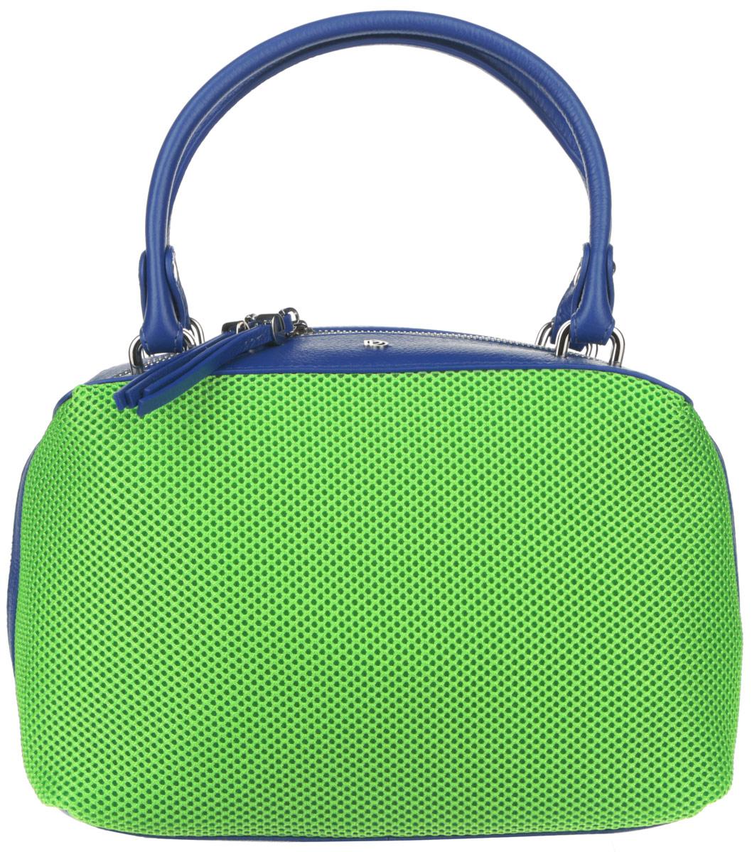 Сумка женская Pimo Betti, цвет: синий, салатовый. 14674B1-W114674B1-W1Оригинальная женская сумка торговой марки Pimo Betti выполнена из натуральной кожи с зернистой фактурой и текстильных вставок с перфорированной поверхностью. Модель закрывается на металлическую застежку-молнию. Сумка состоит из одного отделения, содержит два нашивных кармана для мелочей и телефона и врезной карман на пластиковой молнии. На задней стенке предусмотрен небольшой прорезной карман на молнии. Изделие оснащено удобными ручками. Дно сумки дополнено металлическими ножками, которые защищают изделие от повреждений. Сумка декорирована металлическими элементами с символикой логотипа бренда. Прилагается фирменный текстильный чехол для хранения. Оригинальный аксессуар позволит вам завершить образ и всегда быть в центре внимания.