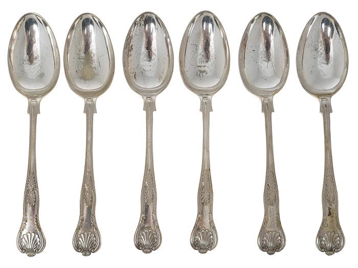 Набор столовых ложек, 6 шт. Металл, глубокое серебрение EPNS. Великобритания, первая половина ХХ века