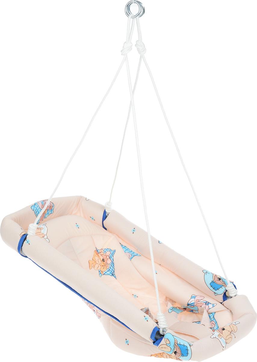 Фея Качели-гамак Комфорт Мишка и Заяц цвет бежевый4258_бежевый,заяц,мишкаКачели-гамак Фея Комфорт. Мишка и Заяц - это небольшое уютное местечко для малыша, аналог подвесной люльки. Гамак выполнен из 100% хлопчатобумажной ткани. Изделие имеет мягкое сиденье и оснащено ремнями безопасности. Бортики гамака защищены мягким наполнителем. Гамак подвешивается с помощью небольших тросов на металлические кольца. Его можно легко сложить, при хранении не занимает много места.