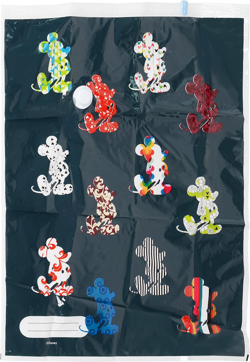 Пакет для хранения одежды Disney Микки, вакуумный, с клапаном, 80 x 60 см64847Вакуумный пакет Disney Микки, выполненный из плотного полиэтилена, предназначен для компактного хранения и перевозки одежды, постельных принадлежностей, мягких игрушек и прочего. Обеспечивает герметичную защиту вещей от влаги, пыли, моли и запаха. Пакет оформлен изображением Микки Мауса и оснащен удобным клапаном и застежкой. Возможно многократное использование пакета. Размер пакета: 80 х 60 см.