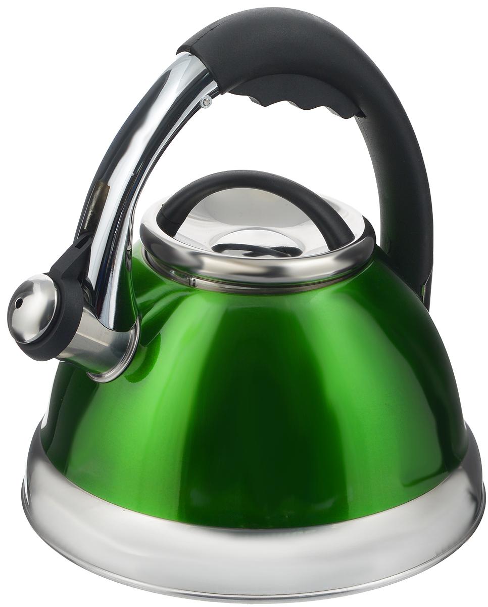 Чайник Calve, со свистком, цвет: зеленый, 2,6 лCL-1463_зелёныйЧайник Calve изготовлен из высококачественной нержавеющей стали. Нержавеющая сталь обладает высокой устойчивостью к коррозии, не вступает в реакцию с холодными и горячими продуктами и полностью сохраняет их вкусовые качества. Особая конструкция дна способствует высокой теплопроводности и равномерному распределению тепла. Чайник оснащен удобной бакелитовой ручкой с кнопкой-закрепителем положения носика. Носик чайника имеет откидной свисток, звуковой сигнал которого подскажет, когда закипит вода. Можно мыть в посудомоечной машине. Диаметр чайника (по верхнему краю): 10 см. Диаметр основания: 17 см. Высота чайника (с учетом ручки): 23,5 см.