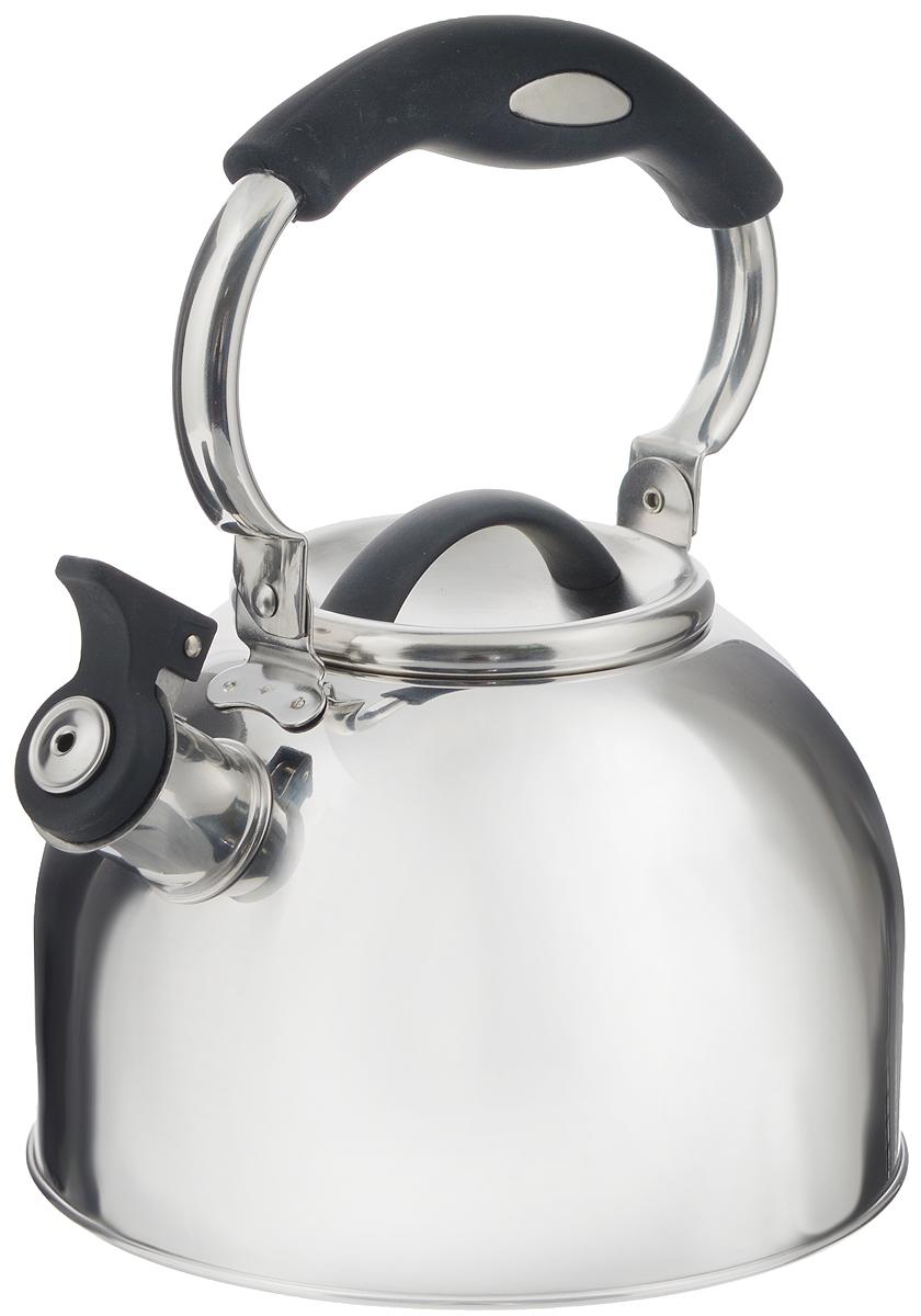 Чайник Mayer & Boch, со свистком, цвет: черный, 3 л. 41284128_черныйЧайник Mayer & Boch выполнен из высококачественной нержавеющей стали, что делает его весьма гигиеничным и устойчивым к износу при длительном использовании. Носик чайника оснащен насадкой-свистком, что позволит вам контролировать процесс подогрева или кипячения воды. Подвижная ручка, выполненная из нейлона, дает дополнительное удобство при наливании напитка. Поверхность чайника гладкая, что облегчает уход за ним. Эстетичный и функциональный, с эксклюзивным дизайном, чайник будет оригинально смотреться в любом интерьере. Подходит для всех типов плит, кроме индукционных. Можно мыть в посудомоечной машине. Объем: 3 л. Диаметр (по верхнему краю): 10 см. Высота чайника (без учета крышки и ручки): 12 см. Диаметр основания: 19 см. Высота ручки: 12,5 см