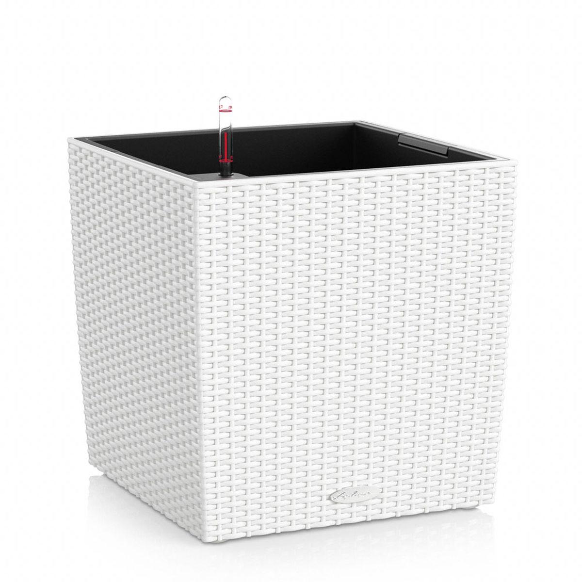 "Кашпо Lechuza ""Cube Cottage"", с системой автополива, цвет: белый, 40 х 40 х 44 см"