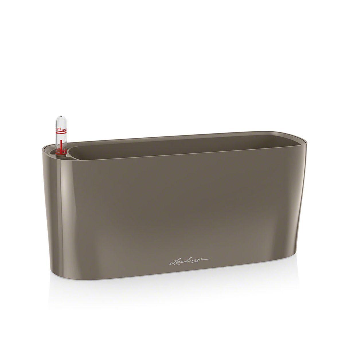 """Кашпо Lechuza """"Delta"""", с системой автополива, цвет: серо-коричневый, 30 х 11 х 13 см"""
