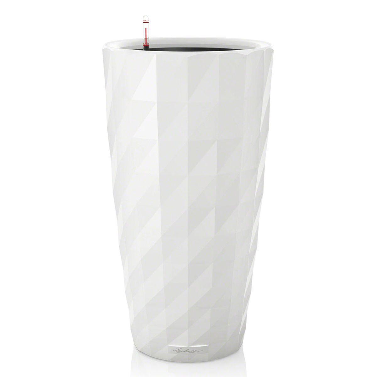 Кашпо Lechuza «Diamante», с системой автополива, цвет: белый, диаметр 40 см