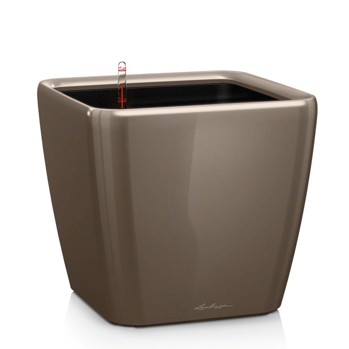 "Кашпо Lechuza ""Quadro"", с системой автополива, цвет: серо-коричневый, 21 х 21 х 20 см"