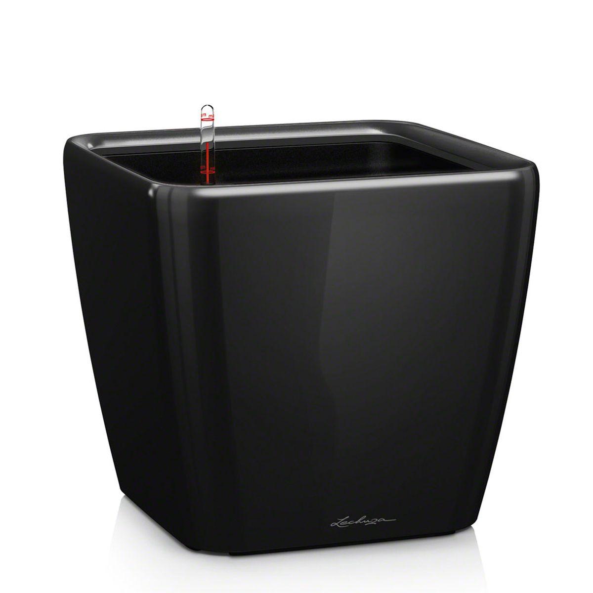 Кашпо Lechuza Quadro, с системой автополива, цвет: черный, 28 х 28 х 26 см16149Кашпо Lechuza Quadro, выполненное из высококачественного пластика, имеет уникальную систему автополива, благодаря которой корневая система растения непрерывно снабжается влагой из резервуара. Уровень воды в резервуаре контролируется с помощью специального индикатора. В зависимости от размера кашпо и растения воды хватает на 2-12 недель. Это способствует хорошему росту цветов и предотвращает переувлажнение. В набор входит: кашпо, внутренний горшок с выдвижной эргономичной ручкой, индикатор уровня воды, вал подачи воды, субстрат растений в качестве дренажного слоя, резервуар для воды. Кашпо Lechuza Quadro прекрасно впишется в любой интерьер. Оно поможет расставить нужные акценты, а также придаст помещению вид, соответствующий вашим представлениям.