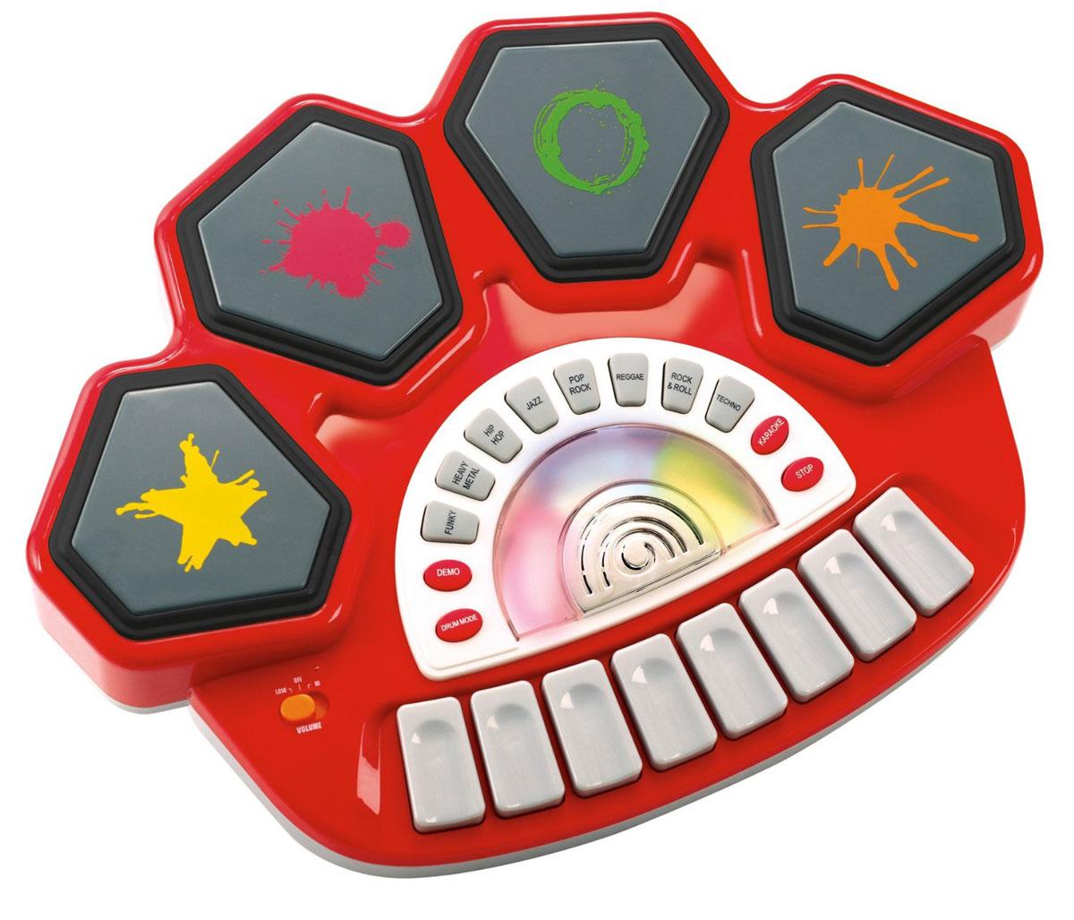Playgo Электронный барабан Rockstar Drum StationPlay 4385Электронный барабан Playgo Rockstar Drum Station - это замечательный музыкальный инструмент для вашего ребенка. В памяти барабана имеются разные режимы, и записанные мелодии, которые можно проиграть. Под барабанную дробь, ребенок будет изображать игру на барабане, как настоящий музыкант. А может сочинить свою мелодию и почувствовать себя настоящим рок-исполнителем. Эта игрушка будет способствовать развитию у малыша слуха, чувства ритма и музыкальной памяти, творческого и логического мышления, речи и навыков общения. Необходимо купить 3 батарейки напряжением 1,5V типа АА (не входят в комплект).