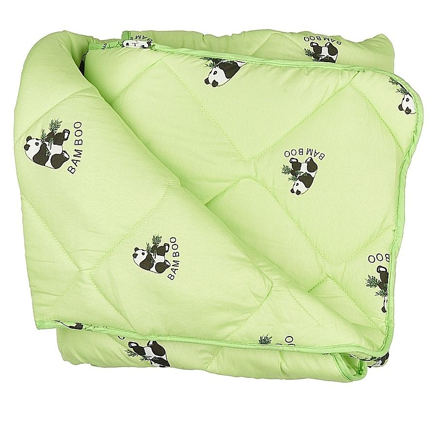 Одеяло Letto Панда бамбук, цвет: зеленый, 170х215смpanda_bambuk170Бамбуковое одеяло с пандами от Letto подарит вам тепло, комфорт и создаст приятную атмосферу в спальне. Теплое одеяло (имеет 4-4,5 балла по 5 бальной шкале) прекрасно подойдет для любителей одеял потеплее и прохладных помещений, а также на переходные сезоны. При этом оно достаточно легкое и воздушное, имеет плотность 300гр/м, но не создает эффект тяжести во время сна. Одеяло выполнено из современных наполнителей, его легко стирать, оно быстро сохнет, а плотная стежка не позволяет одеялу сбиваться и равномерно распределяет наполнитель - то, что нужно на каждый день. Светлый чехол немаркий и не просвечивается через белье. Наполнитель: смесовое волокно 20% бамбук, 80% файбер; чехол: полиэстер. Размер 2.0-сп: 170*215 см.
