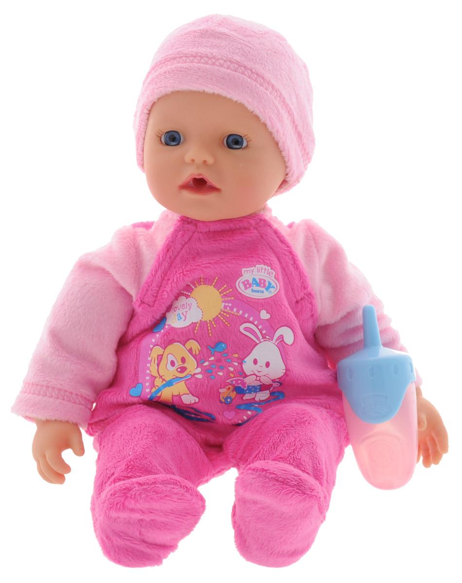 Baby Born Пупс цвет одежды светло-розовый розовый822-500Очаровательный пупс Baby Born - отличный подарок для девочки. Тело пупса мягконабивное, из твердых материалов изготовлены только голова и конечности. Наполнитель мягкой части игрушки состоит из микрогранул. Благодаря этому куклу можно купать в воде - набивка очень быстро высыхает и с куклой снова можно играть. В наборе с куклой поставляется комплект одежды - розовый комбинезон и шапочка, а также бутылочка. Благодаря играм с куклой, ваша малышка сможет развить фантазию и любознательность, овладеть навыками общения и научиться ответственности. Порадуйте свою принцессу таким прекрасным подарком!