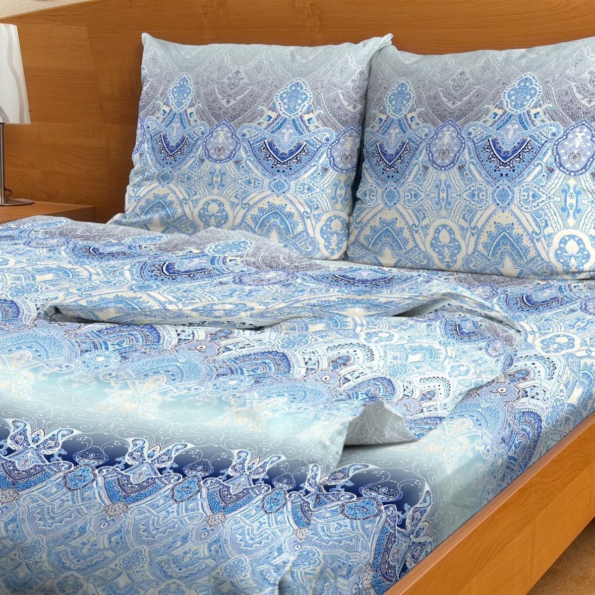 Комплект белья Letto, 1,5-сп, наволочки 70x70, цвет: голубой