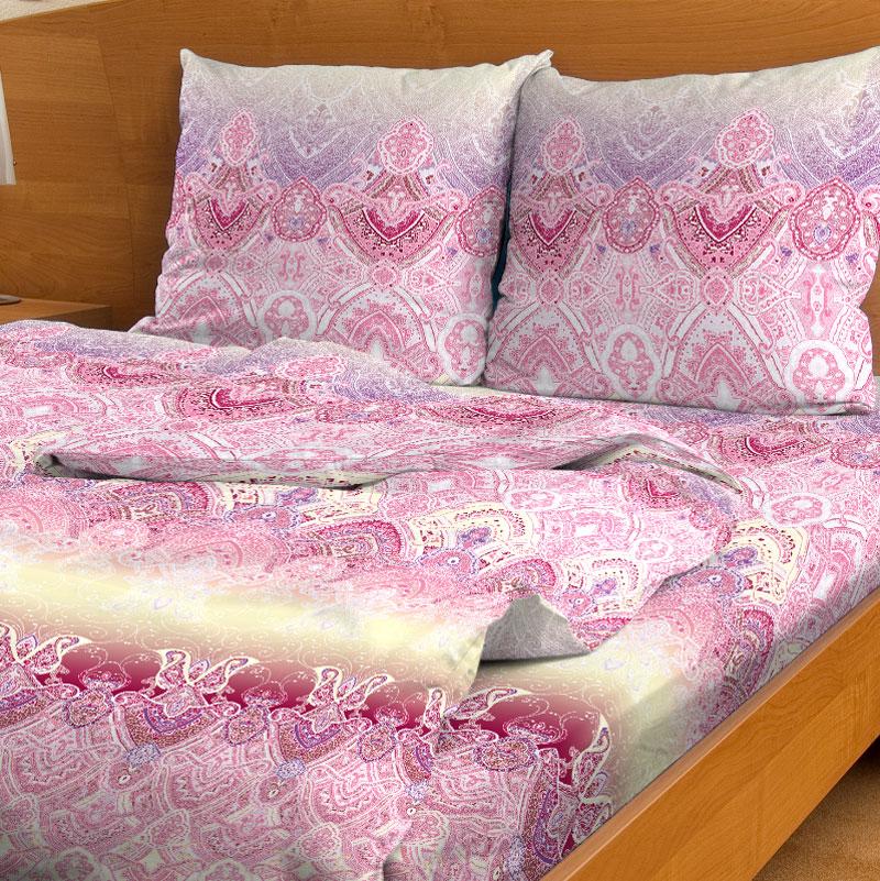 Комплект белья Letto, 1,5-сп, наволочки 70x70, цвет: розовый