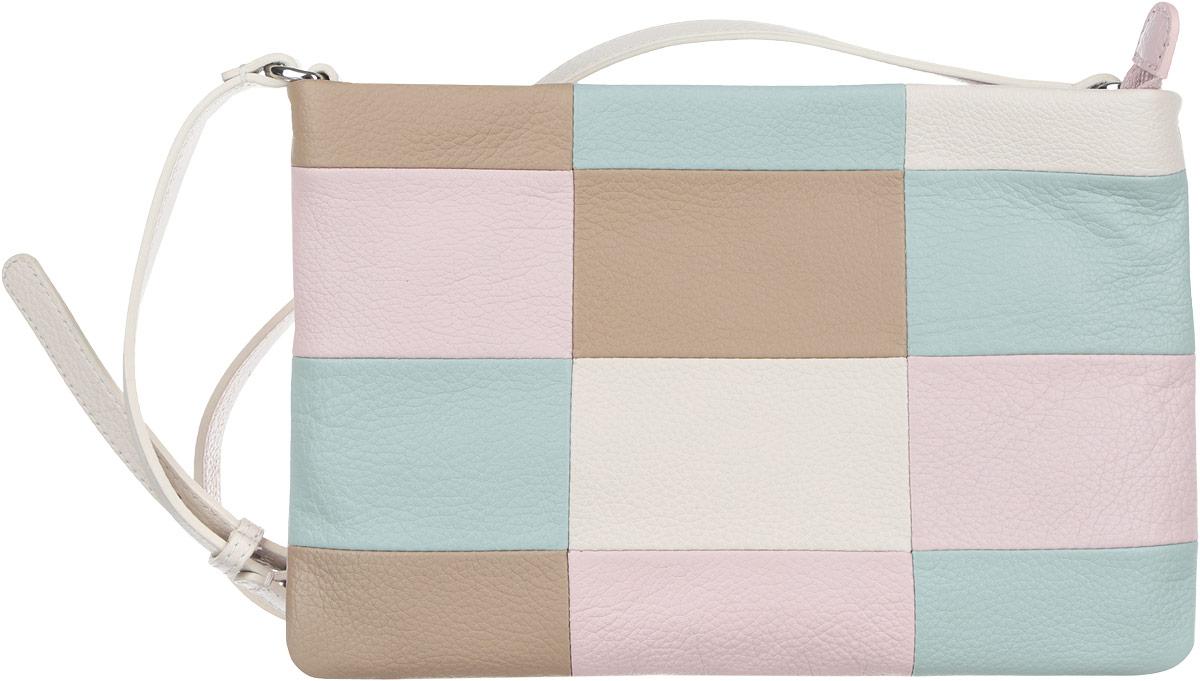 Сумка женская Pimo Betti, цвет: светло-бежевый, ментоловый, розовый, светло-коричневый. 13817B2-W213817B2-W2Яркая женская сумка кросс-боди торговой марки Pimo Betti выполнена из натуральной кожи с зернистой фактурой, оформлена геометрическим принтом. Изделие состоит из одного отделения, которое закрывается на пластиковую застежку-молнию. Сумка содержит два нашивных открытых кармана и врезной карман на пластиковой застежке-молнии. Снаружи, на задней стороне сумки, расположен прорезной кармашек на молнии. Изделие оснащено несъемным плечевым ремнем, длина которого регулируется металлической пряжкой. Прилагается фирменный текстильный чехол для хранения. Оригинальный аксессуар позволит вам завершить образ и быть неотразимой.