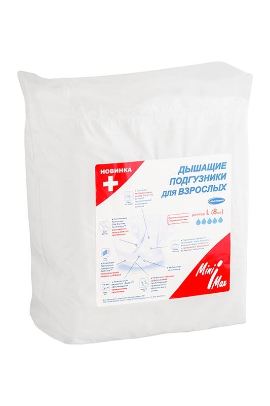 MiniMax Подгузники для взрослых размер L 8 шт88122Подгузники для взрослых MINIMAX, 8 шт.в уп, р-р L(Large) - обхват талии 100-160 см - Дышащие подгузники для взрослых с индикатором влагонасыщения, текстильные, с многоразовыми застёжками липучками, имеют высокий уровень впитываемости и предназначены для людей страдающих недержанием и лежачих больных. Анатомическая форма. Препятствуют распространению неприятного запаха, дарят ощущение свежести. Дышащие текстильные слои боковинок.