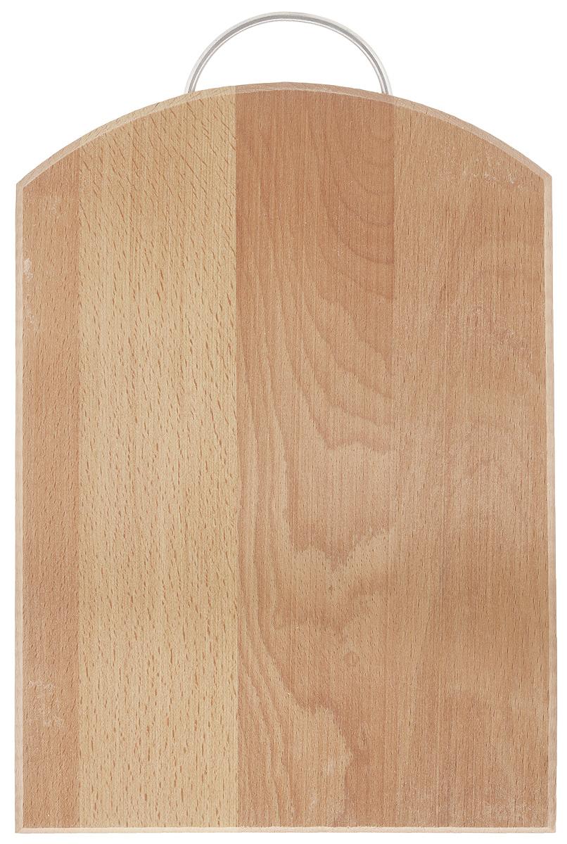 Доска разделочная Хозяюшка, с ручкой, 35 х 24,5 см. 04-304-3Разделочная доска Хозяюшка изготовлена из бука. Бук наряду с дубом и тиком относится к ценным твердолиственным породам элитной группы категории А, класса люкс. По структуре древесины бук считается менее рыхлым, чем дуб, и более гибким, чем тик, при этом не уступает по прочности этим двум породам, а по красоте даже превосходит их. Бук отличают, прежде всего, уникальная текстура и естественный белый с желтовато-красным оттенком, со временем переходящим в розовато-коричневый, цвет древесины. Бук прекрасно поддается шлифовке и полировке. Бук боится влаги, но, как в случае со всеми без исключения досками из древесины, вопрос влагостойкости решается пропиткой дерева специальным минеральным или льняным маслом. Масло защищает доску от коробления, рассыхания и растрескивания. Именно поэтому все доски Хозяюшка обработаны льняным маслом и упакованы в пленку. Разделочная доска имеет форму полубочки, оснащена металлической ручкой. Нельзя мыть в посудомоечной машине....