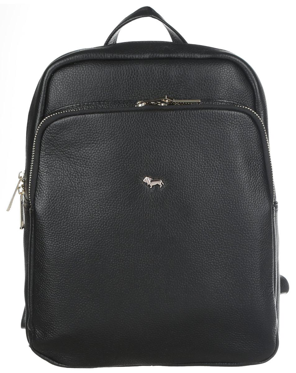 Рюкзак женский Labbra, цвет: черный. L-SD1040L-SD1040Стильный женский рюкзак Labbra выполнен из натуральной кожи с зернистой фактурной, оформлен металлической фурнитурой с символикой бренда. Изделие содержит одно основное отделение, закрывающееся на металлическую застежку-молнию. Внутри расположены два накладных кармашка для мелочей и врезной карман на молнии. Лицевая сторона рюкзака дополнена вместительным накладным карманом, который закрывается на молнию. Спинка изделия дополнена небольшим врезным карманом на молнии. Рюкзак оснащен удобными плечевыми лямками регулируемой длины, а также ручкой для переноски в руке. Практичный аксессуар позволит вам завершить свой образ и быть неотразимой.