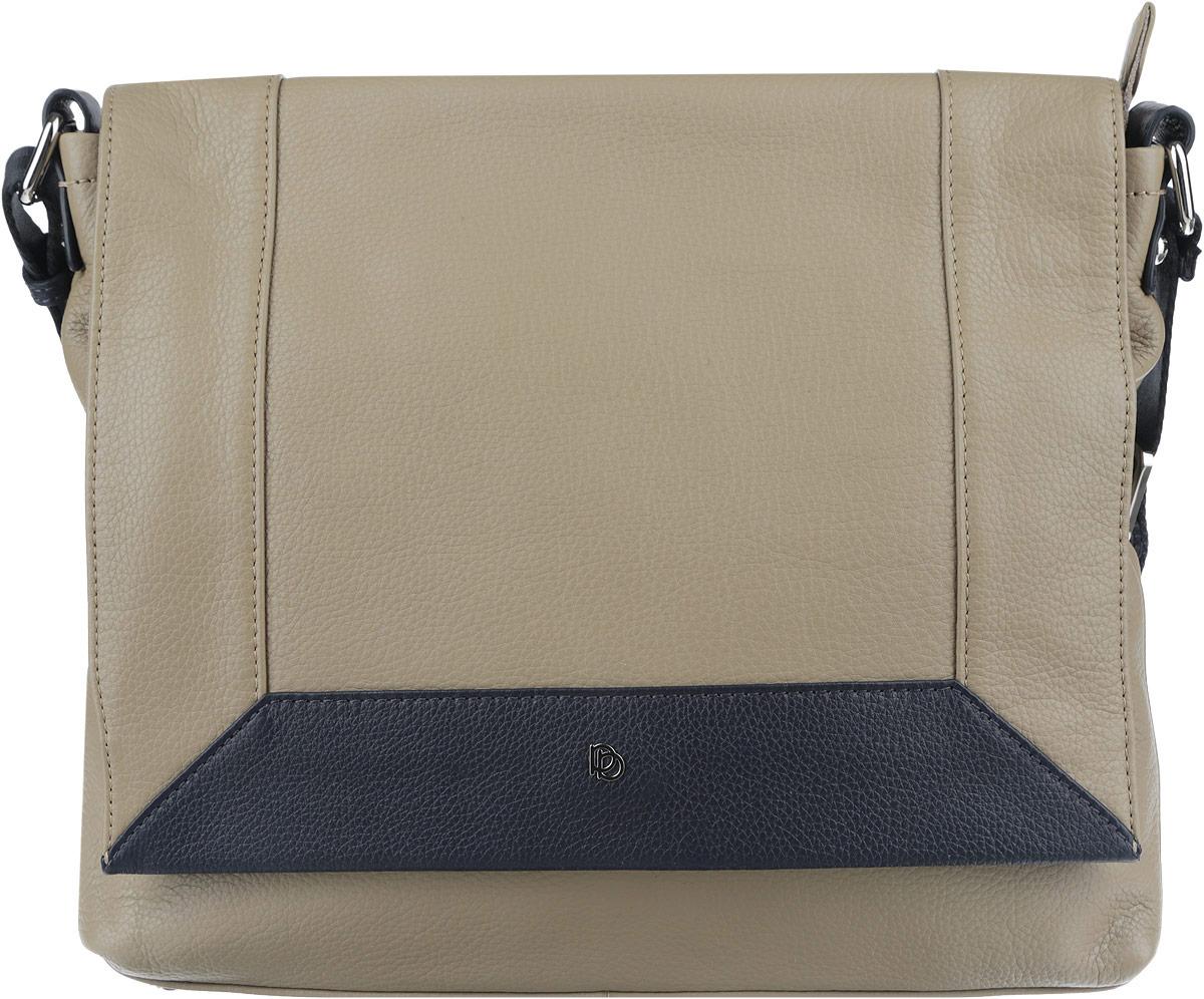 Сумка женская Pimo Betti, цвет: темно-бежевый, темно-синий. 14223BS1-W214223BS1-W2Оригинальная женская сумка торговой марки Pimo Betti выполнена из натуральной кожи с зернистой фактурой и застегивается на пластиковую застежку-молнию и дополнительно на клапан с кнопкой-магнитом. Клапан выполнен с контрастной вставкой по краю и декорирован символикой логотипа бренда. Сумка состоит из одного основного отделения, разделенного карманом-средником на молнии. Сумка содержит два нашивных открытых кармана для мелочей и телефона, врезной карман на пластиковой застежке-молнии. Снаружи, на задней стороне сумки, расположен прорезной кармашек на молнии. Лицевая сторона сумки дополнена врезным карманом на молнии, расположенным под клапаном. Изделие оснащено несъемным текстильным плечевым ремнем, регулируемой длины. Дно сумки дополнено металлическими ножками, которые защищают изделие от повреждений. Прилагается фирменный текстильный чехол для хранения. Оригинальный аксессуар позволит вам завершить образ и быть неотразимой.