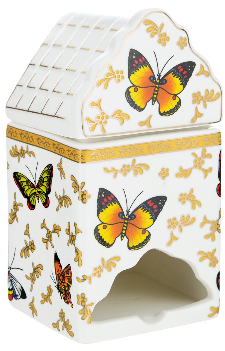 Банка для чайных пакетиков Elan Gallery Бабочки503809Банка для чайных пакетиков Elan Gallery Бабочки изготовлена из высококачественной керамики в виде домика, украшенного ярким рисунком. Банка оснащена удобной крышкой и отверстием снизу, с помощью которого удобно доставать чайные пакетики. Такая оригинальная банка для хранения красиво оформит кухонный стол и удивит вас своей функциональностью. Размер банки (с учетом крышки): 8,5 х 8,5 х 17,2 см.