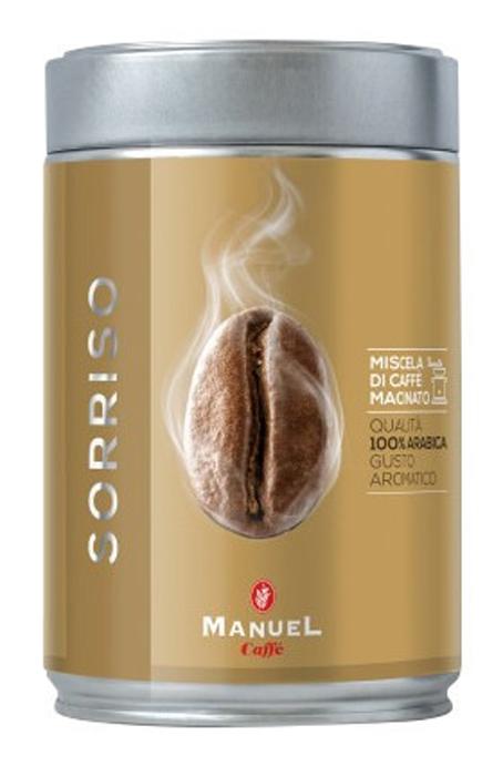 Manuel Sorriso кофе молотый, 250 г (ж/б)8006536201081Manuel Sorriso - кофе для тех, кто выбирает лучшее. Умелая комбинация нескольких сортов арабики из центральной Африки и Америки, результатом которой является соединение всех ароматов в неповторимый по своим качествам букет.