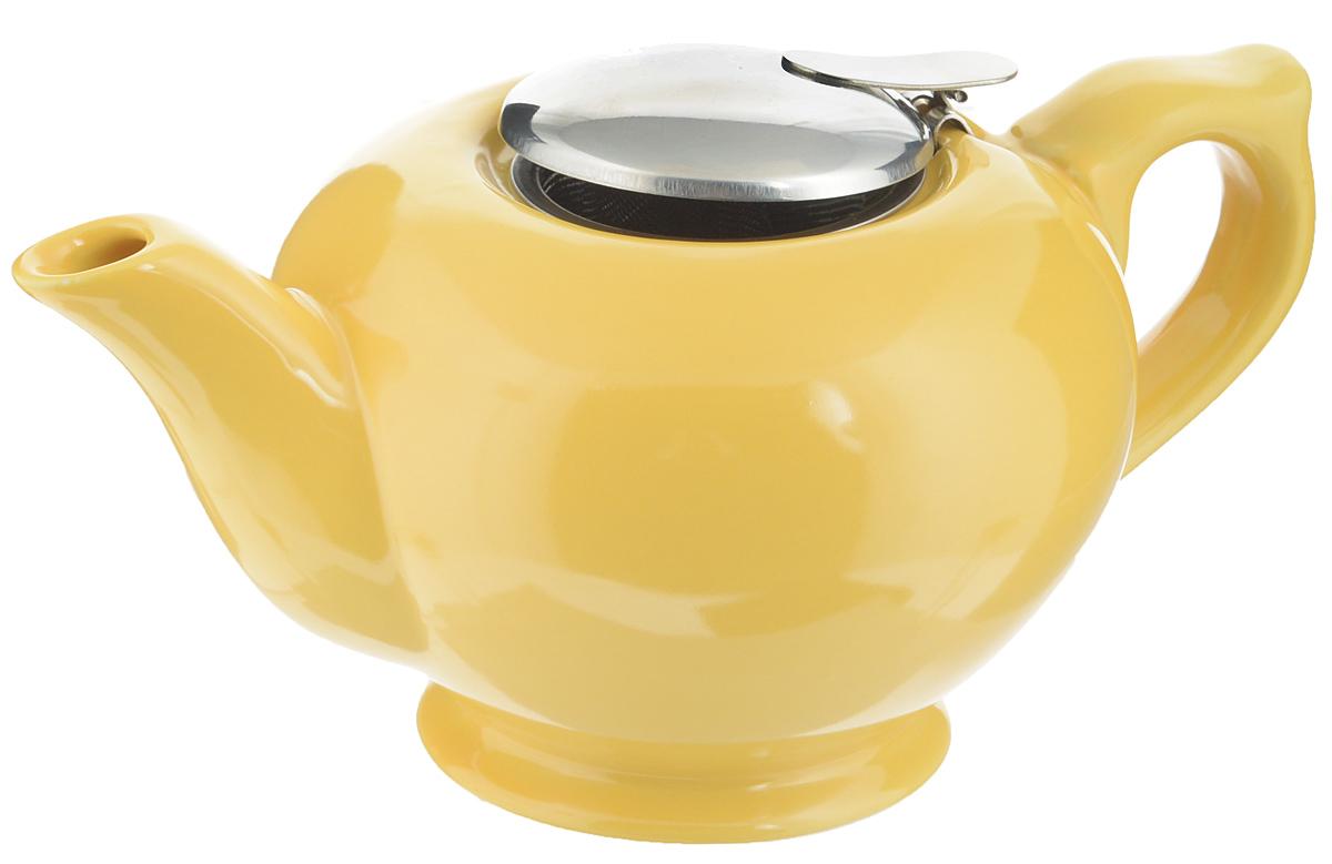 Чайник заварочный Loraine, с фильтром, цвет: желтый, 900 мл23059_желтыйЗаварочный чайник Loraine изготовлен из высококачественной керамики и снабжен крышкой из нержавеющей стали. Изделие оснащено фильтром, благодаря которому задерживает чаинки и предотвращает их попадание в чашку. Глянцевый корпус обеспечивает легкую очистку. Чайник поможет заварить крепкий ароматный чай и великолепно украсит стол к чаепитию. Диаметр чайника (по верхнему краю): 8 см. Высота чайника (без учета крышки): 10 см. Высота фильтра: 6,5 см.