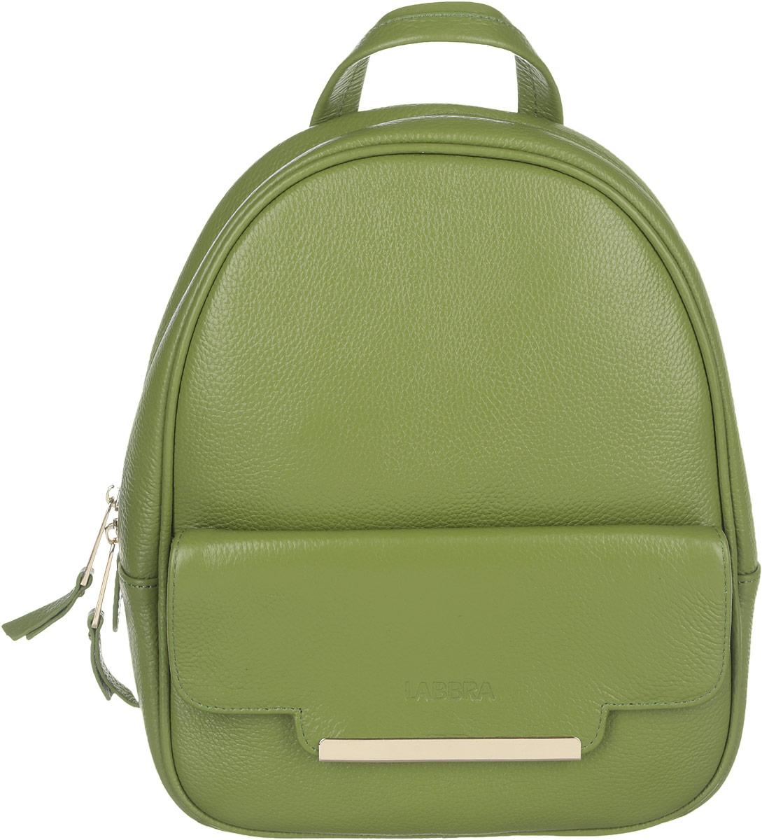 Рюкзак женский Labbra, цвет: зеленый. L-9915-2L-9915-2Стильный женский рюкзак Labbra выполнен из натуральной кожи с зернистой фактурной, оформлен металлической фурнитурой с символикой бренда. Изделие содержит одно основное отделение, закрывающееся на металлическую застежку-молнию. Внутри расположены два накладных кармашка для мелочей и врезной карман на молнии. Лицевая сторона рюкзака дополнена прорезным карманом, который закрывается на клапан с магнитом, декорированный тиснением логотипа бренда и металлической пластиной. Спинка изделия дополнена небольшим врезным карманом на молнии. Рюкзак оснащен удобными плечевыми лямками регулируемой длины, а также ручкой для переноски в руке. Практичный аксессуар позволит вам завершить свой образ и быть неотразимой.