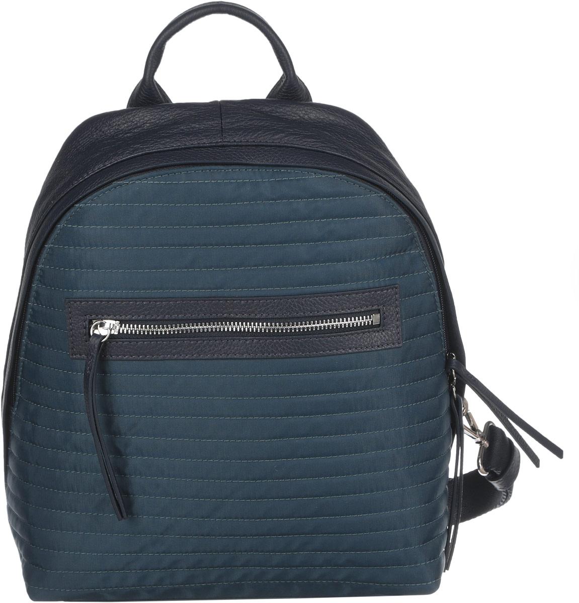 Рюкзак женский Pimo Betti, цвет: темно-синий. 14390B2-W214390B2-W2Стильный женский рюкзак Pimo Betti выполнен из текстиля с вставками из натуральной кожи, оформлен декоративной прострочкой. Изделие имеет одно отделение, закрывающееся на застежку-молнию. Внутри находится прорезной карман на застежке-молнии и два открытых накладных кармана. Снаружи, на передней стенке располагается прорезной карман на застежке-молнии. На спинке предусмотрен врезной карман на пластиковой застежке-молнии. Рюкзак оснащен съемными текстильными лямками, регулируемой длины, и удобной ручкой. Прилагается фирменный текстильный чехол для хранения. Стильный рюкзак Pimo Betti прекрасно дополнит ваш образ.