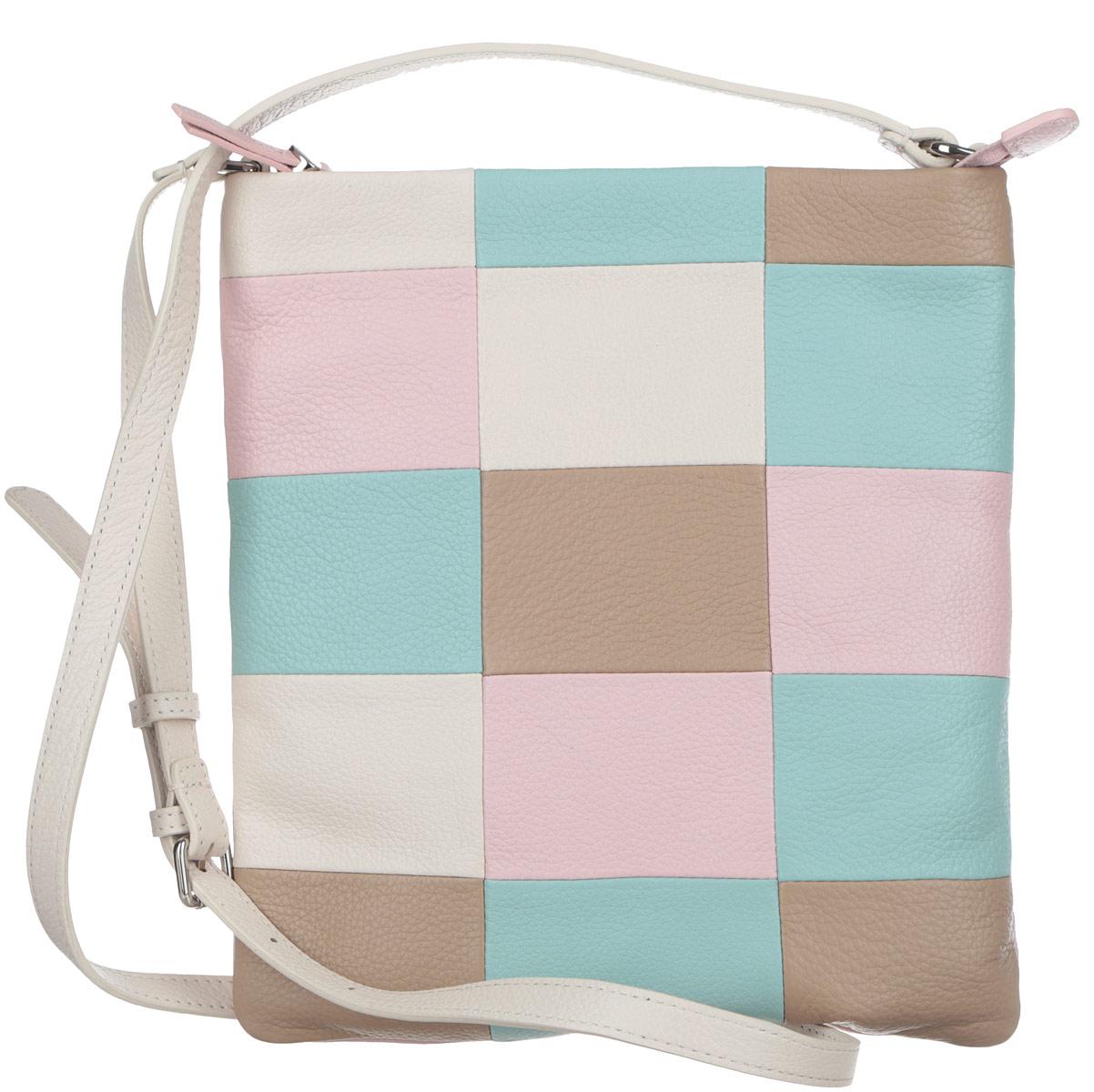 Сумка женская Pimo Betti, цвет: светло-бежевый, ментоловый, розовый, светло-коричневый. 13869B1-W213869B1-W2Яркая женская сумка кросс-боди торговой марки Pimo Betti выполнена из натуральной кожи с зернистой фактурой, оформлена геометрическим принтом. Изделие состоит из одного отделения, которое закрывается на пластиковую застежку-молнию. Сумка содержит нашивной открытый карман и врезной карман на пластиковой застежке-молнии. Снаружи, на задней стороне сумки, расположен прорезной кармашек на молнии. Изделие оснащено несъемным плечевым ремнем, длина которого регулируется металлической пряжкой. Прилагается фирменный текстильный чехол для хранения. Оригинальный аксессуар позволит вам завершить образ и быть неотразимой.