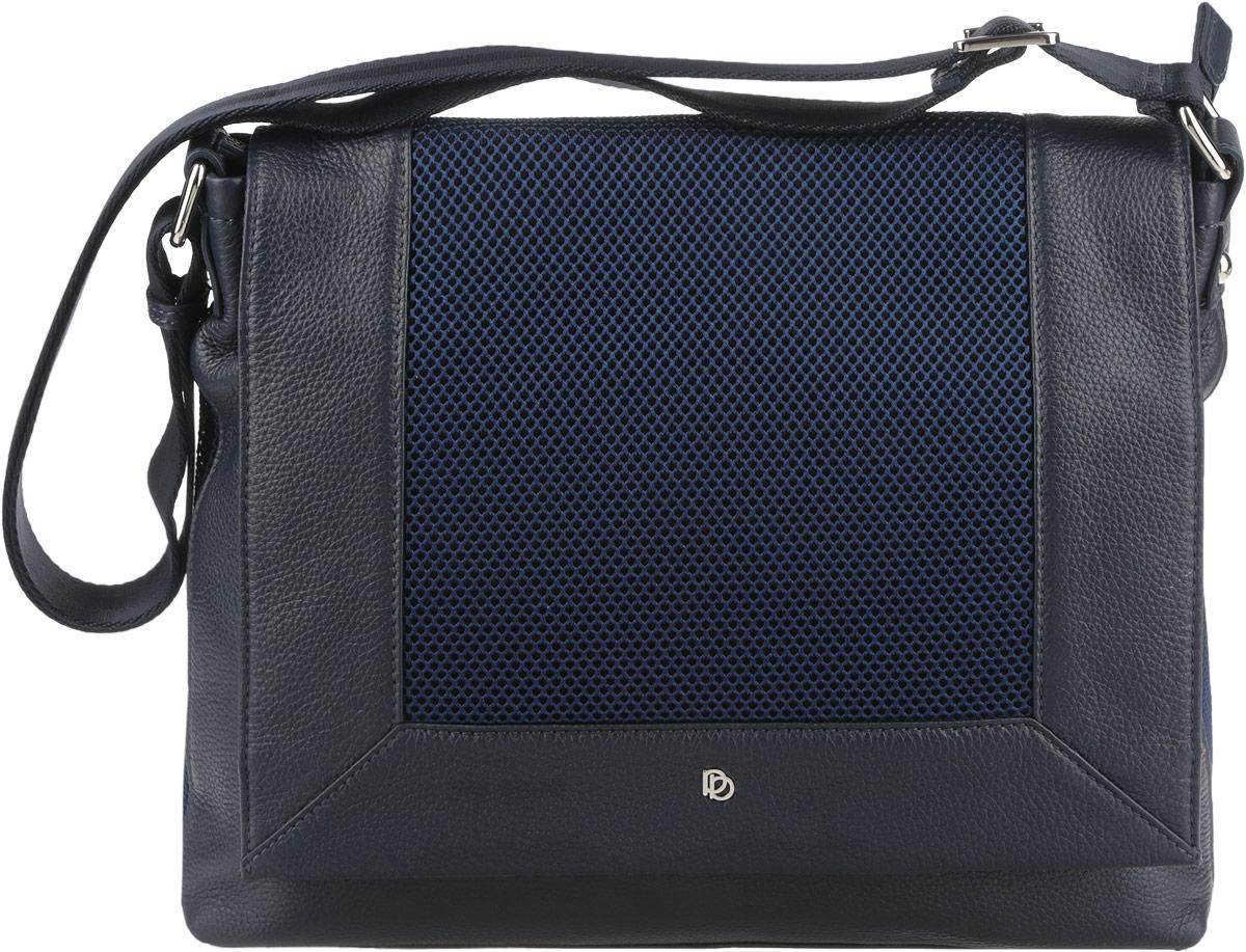 Сумка женская Pimo Betti, цвет: темно-синий. 14223BS-W114223BS-W1Оригинальная женская сумка торговой марки Pimo Betti выполнена из натуральной кожи с зернистой фактурой и вставками из текстиля. Модель застегивается на пластиковую застежку-молнию и дополнительно на клапан с кнопкой-магнитом. Клапан оформлен вставкой текстиля и символикой логотипа бренда. Сумка состоит из одного вместительного отделения, разделенного карманом-средником на молнии. Сумка содержит два нашивных открытых кармана для мелочей и телефона, врезной карман на пластиковой застежке-молнии. Снаружи, на задней стенке сумки, расположен прорезной кармашек на молнии. На лицевой стороне под клапаном предусмотрен врезной карман на молнии. Изделие оснащено несъемным текстильным плечевым ремнем, регулируемой длины. Предусмотрены на дне сумки защитные металлические ножки. Прилагается фирменный текстильный чехол для хранения. Оригинальный аксессуар позволит вам завершить образ и быть неотразимой.