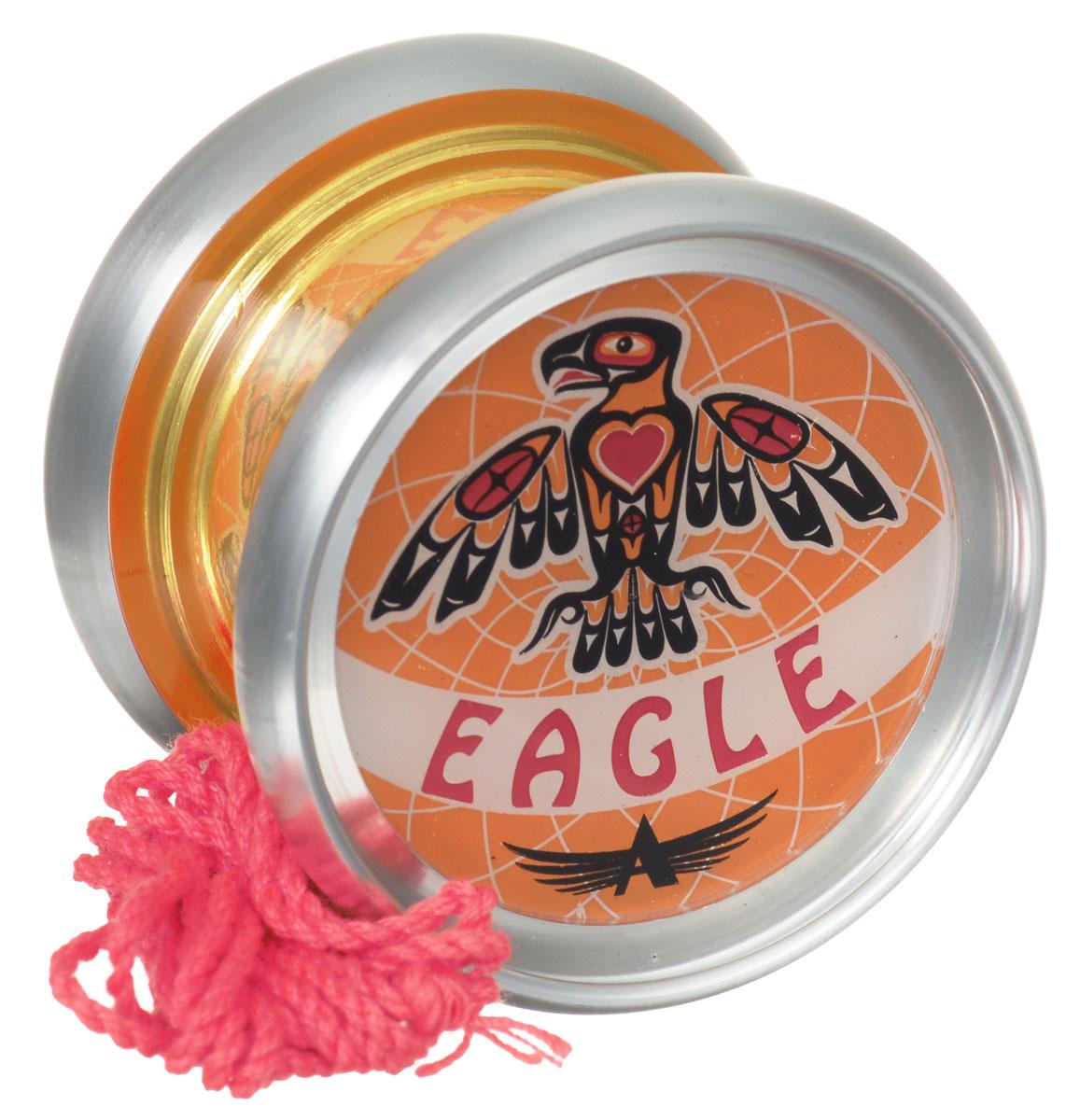 Aero-Yo Йо-йо Aero Eagle цвет серебристый оранжевый732020Йо-йо Aero Eagle является флагманом в линейке Composite Line, от российского топ-производителя Aero Yo. Так как модель относится к линейке композитных йо-йо, то соответственно и изготовлена из металлических и пластиковых элементов. Так же Eagle приобрел новейший и оригинальный дизайн и раскраску, при этом оставаясь прозрачным. Модель подойдёт новичкам и игрокам, предпочитающим амбициозно-агрессивный стиль игры. Обладает мягкими тормозами и отличным подшипником с канавкой. Игрушка состоит из двух симметричных половинок, соединенных осью, к которой прикреплена веревка. В комплекте буклет с трюками!
