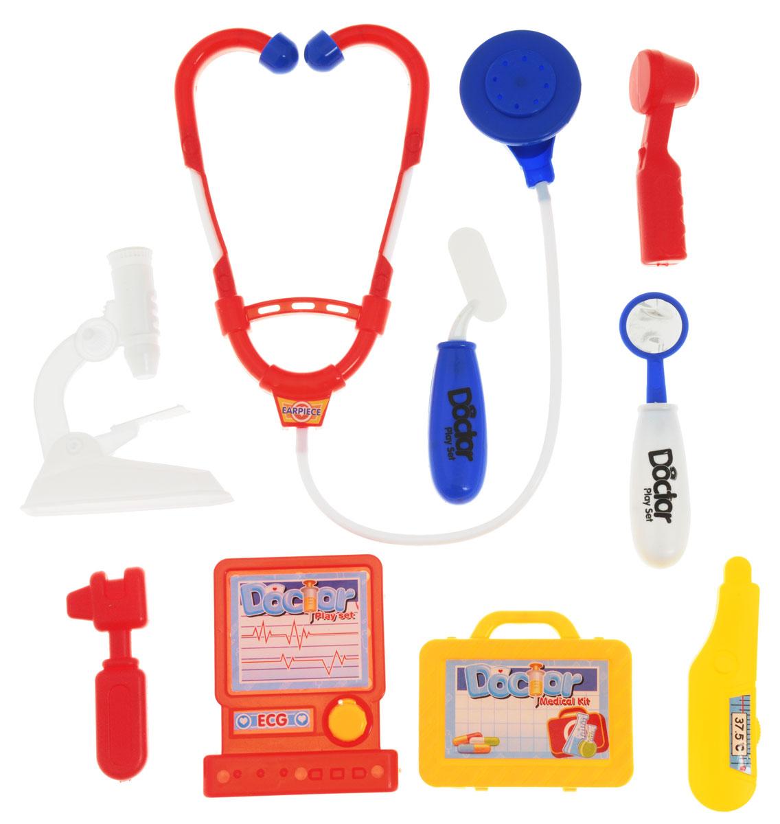 Plastic Toy Игровой набор Семейный врач 9 предметовO140-H34007Игровой набор Plastic Toy Семейный врач станет отличным подарком для маленького врачевателя. В наборе есть все, что может пригодиться юному врачу: стетоскоп, отоскоп, зеркало, шпатель, термометр, микроскоп, чемоданчик, молоточек, электрокардиограф. Ребенок сможет лечить свои игрушки, придумывая различные сюжеты. К тому же, придумывать диагнозы и выписывать пилюльки очень увлекательно. Игровой набор нетоксичен и изготовлен из качественной пластмассы.