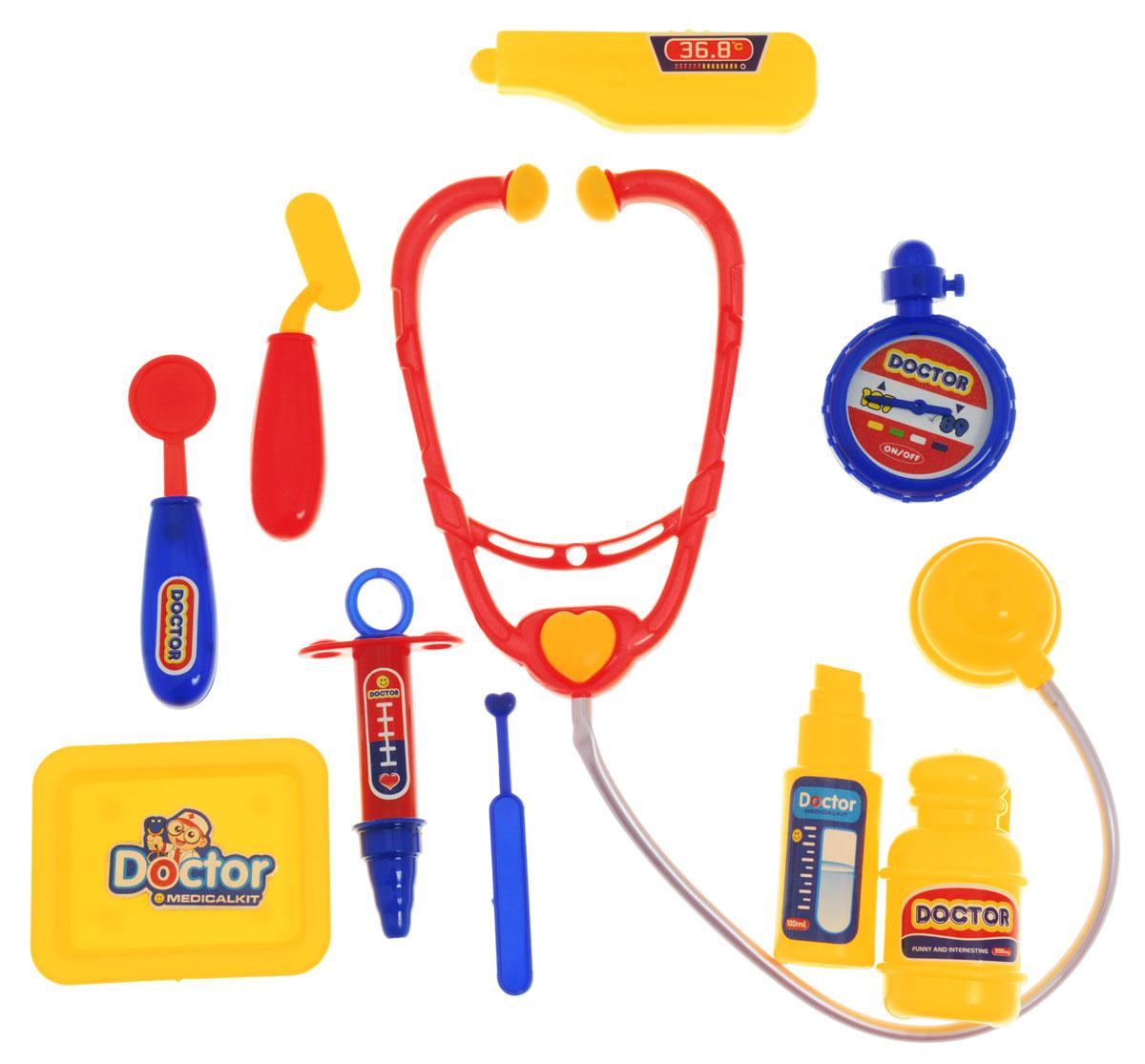Plastic Toy Игровой набор ДокторB894899Игровой набор Plastic Toy Доктор станет отличным подарком для маленького врачевателя. В наборе есть все, что может пригодиться юному врачу: стетоскоп, секундомер, ингалятор, баночка с лекарством, шприц, поднос, зеркало, 2 шпателя, термометр. Ребенок сможет лечить свои игрушки, придумывая различные сюжеты. К тому же, придумывать диагнозы и выписывать пилюльки очень увлекательно. Игровой набор нетоксичен и изготовлен из качественной пластмассы.