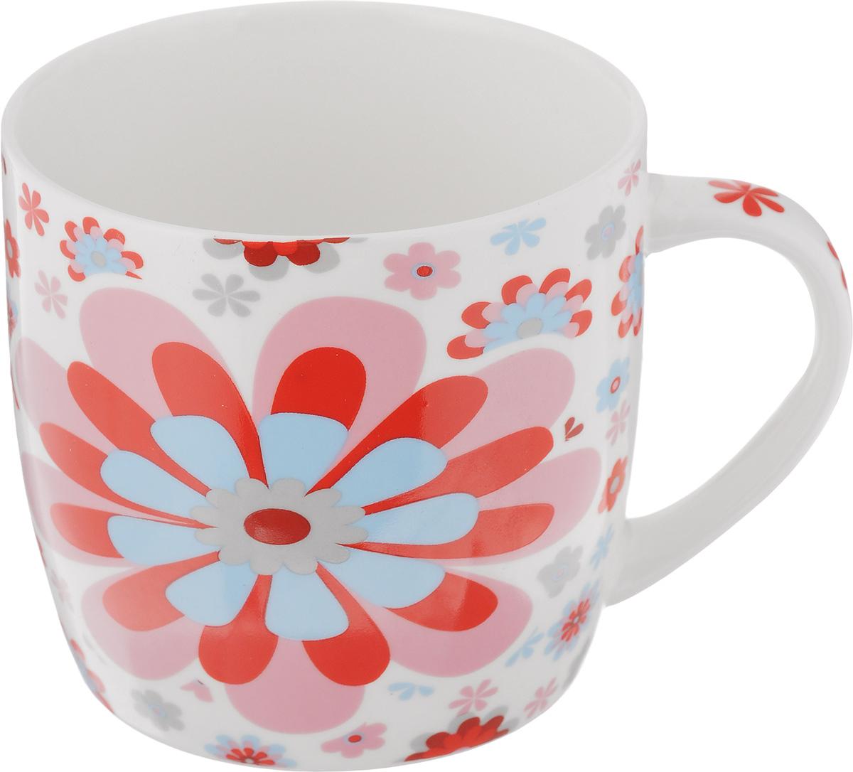 Кружка Loraine, цвет: белый, розовый, голубой, 320 мл. 2448324483_розовый, голубойОригинальная кружка Loraine выполнена из высококачественного фарфора и оформлена красочным рисунком. Она станет отличным дополнением к сервировке семейного стола и замечательным подарком для ваших родных и друзей. Диаметр кружки (по верхнему краю): 8,5 см.