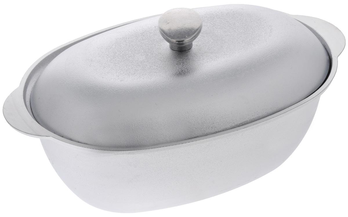 Гусятница Биол с крышкой, цвет: серебристый, 4 лГ0400Гусятница Биол, выполненная из высококачественного литого алюминия, оснащена крышкой. Благодаря особой конструкции корпуса в гусятнице замечательно готовить томленые блюда. Она равномерно прогревается и долго удерживает тепло. Приготовленное блюдо получается особенно вкусным, а в продуктах сохраняется больше полезных веществ. Гусятница не подвержена деформации, легко моется. Подходит для газовых, электрических и стеклокерамических плит. Не подходит для индукционных плит. Можно мыть в посудомоечной машине. Размер гусятницы (по верхнему краю): 37,2 х 23,2 см. Высота стенки гусятницы: 12,2 см. Объем: 4 л.