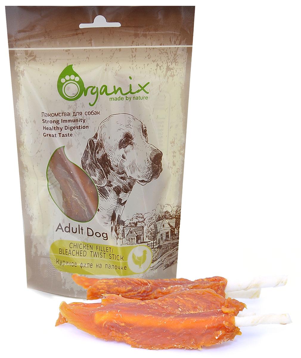 Лакомство для собак Куриное филе на палочке (Chicken fillet/ bleached twist stick)100 гр19279Состав: куриное филе, глицерин, сыромятная кожа. Пищевая ценность: белки 65%, жиры 1%, клетчатка 2%, зола 4%, влажность 20%.
