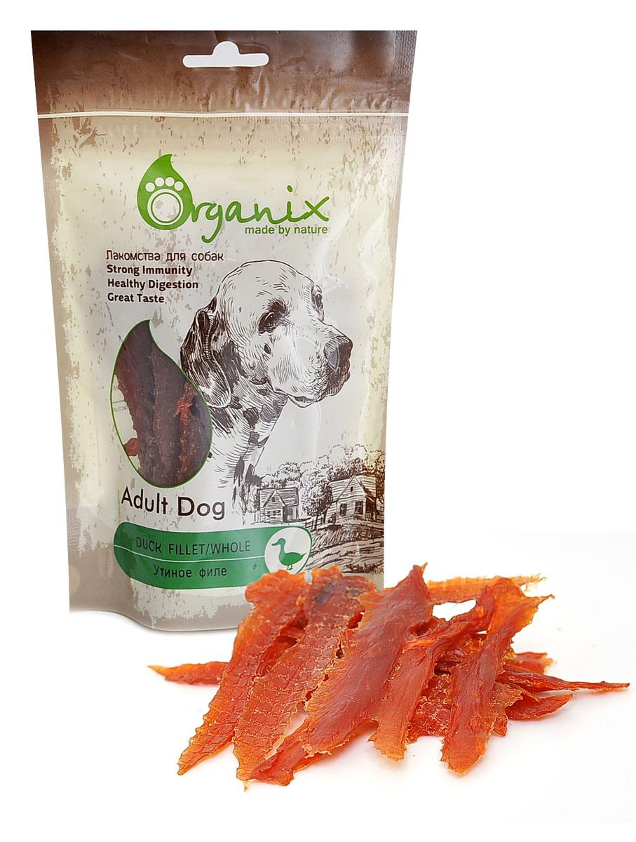 Лакомство для собак Утиное филе (Duck fillet/ whole) 100 гр19289Состав: филе утки, глицерин. Пищевая ценность: белки 50%, жиры 1,8%, клетчатка 2%, зола 4%, влажность 20%.