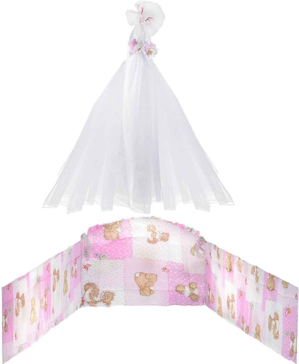 Фея Комплект в кроватку Мишки цвет розовый 2 предмета ( 1047_розовый мишка )