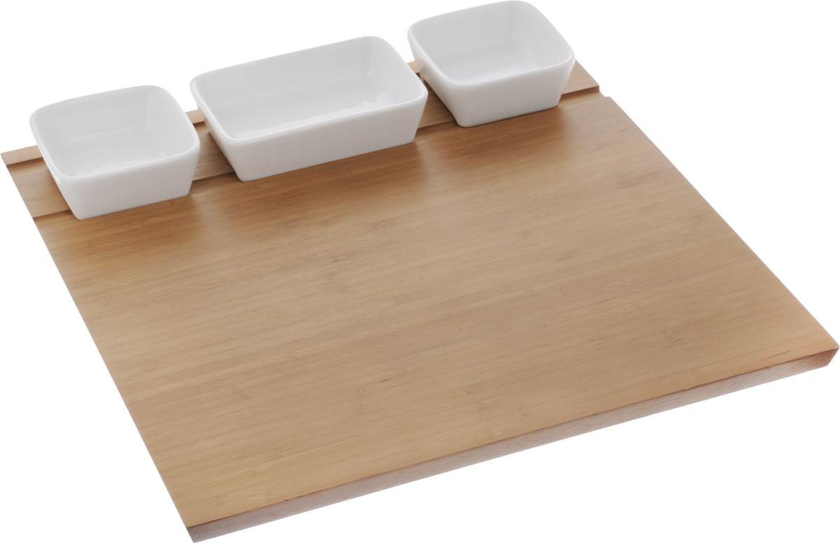 Набор для сервировки Tescoma Fiesta, 4 предмета383240Набор для сервировки Tescoma Fiesta состоит из 3 мисок и подноса. Миски изготовлены из первоклассного фарфора. Поднос выполнен из бамбука. Такой элегантный набор замечательно подойдет для стильной сервировки блюд. Размер подноса: 34 х 34 см. Размер мисок: 12 х 8 х 3,5 см; 8 х 8 х 3,5 см.
