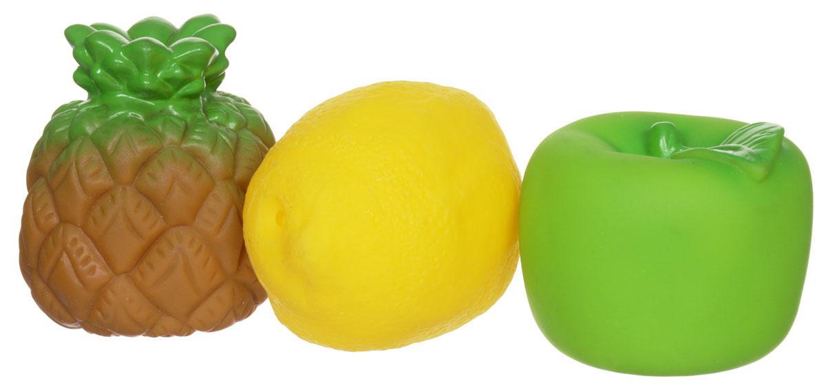 Затейники Набор игрушек для ванной Фрукты и овощи цвет зеленый желтый коричневый1104754_лимон,яблоко,ананасНабор игрушек для ванной Фрукты и овощи понравится вашему ребенку и развлечет его во время купания. Игрушки выполнены из безопасного материала в виде ананаса, лимона и яблока. Размер игрушек идеален для маленьких ручек малыша. Если сжать игрушку во время купания в ванне, она начинает забавно брызгаться водой. Игрушки способствуют развитию воображения, цветового восприятия, тактильных ощущений и мелкой моторики рук.