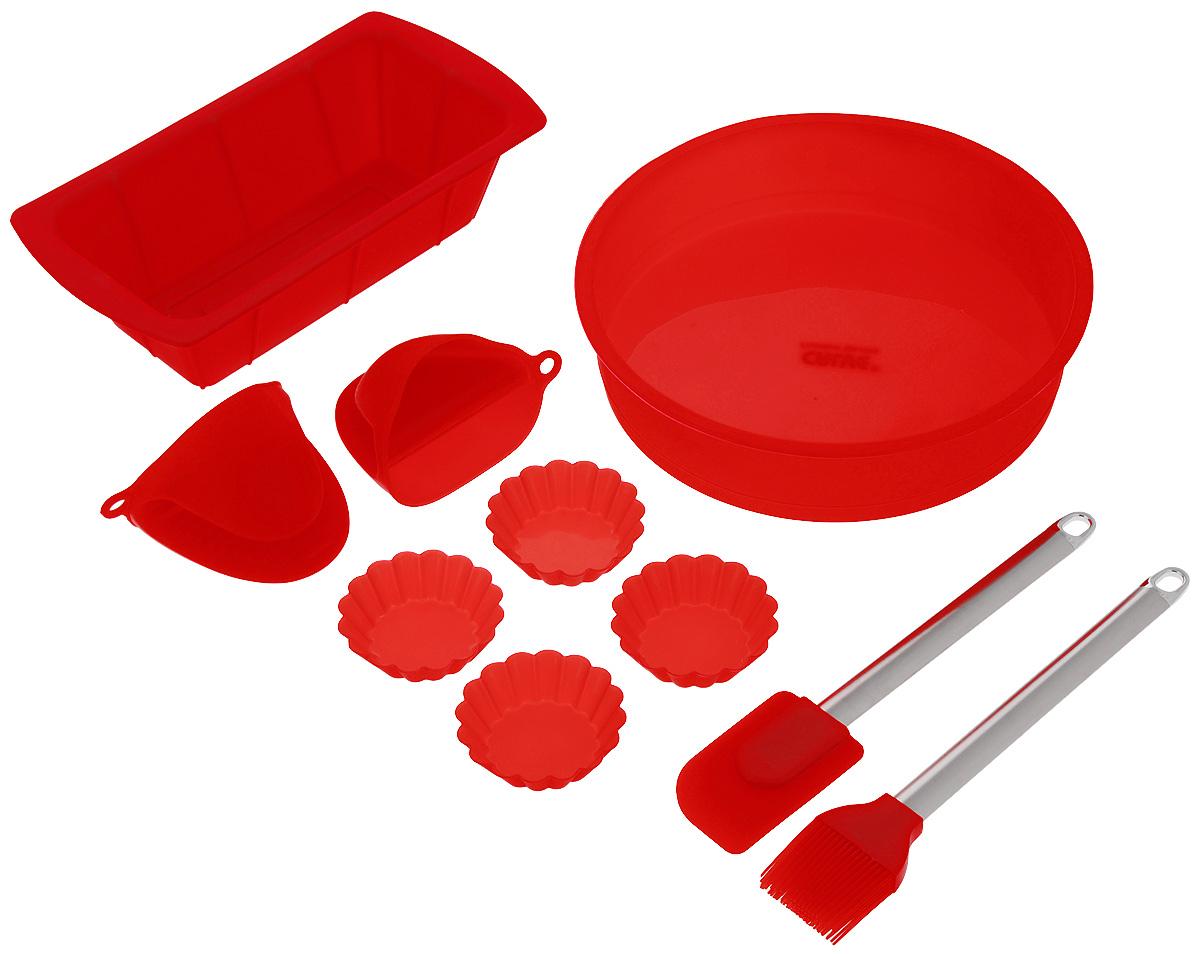 Набор для выпечки Calve, цвет: красный, 10 предметовCL-4609Если вы любите побаловать своих домашних вкусной и ароматной выпечкой по вашему оригинальному рецепту, то набор для выпечки Calve как раз то, что вам нужно! Он прекрасно подходит для приготовления выпечки, шоколада, желирования, замораживания, а также для приготовления птицы, мяса, рыбы, фаршированных овощей и фруктовых десертов. Набор состоит из большой формы для кекса, формы для пирога, двух прихваток, четырех маленьких форм для кекса, лопатки и кисточки. Предметы набора выполнены из силикона. Силикон устойчив к перепадам температуры от -40°C до +230°C, практичен при хранении за счет гибкости. Рукоятки лопатки и кисточки изготовлены из нержавеющей стали. Кисточка предназначена для смазывания выпечки яйцом, кремом, глазурью, а также для смазывания сковороды маслом при приготовлении блинов и оладий. Лопатка предназначена для вынимания готовой выпечки с противня. Силиконовые формы обладают естественными антипригарными свойствами. Не прилипающая поверхность...