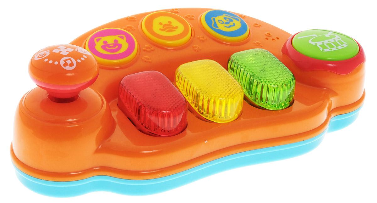 Playgo Развивающий центр ПианиноPlay 2462Playgo развивающая игрушка со световыми и звуковыми эффектами Пианино, несомненно, придется по душе вашему ребенку! Пианино от бельгийской компании Playgo - не просто забавная игрушка, это настоящий развивающий центр! С его помощью можно не только выводить веселые мелодии, но и слушать, как говорят некоторые животные. Клавиши и кнопочки на пианино очень большие и легко нажимаются, благодаря чему игрушкой могут пользоваться самые маленькие музыканты. С помощью круглой кнопочки и рычажка, которые располагаются слева и справа от клавиш, включаются музыка и яркая подсветка. Этот удивительный музыкальный инструмент поможет ребенку развить музыкальный слух, память, внимание и творческий потенциал. Игрушка развивает мышление, зрительное и слуховое восприятия, мелкую моторику рук. Для работы требуются 3 батарейки типа АА (комплектуется демонстрационными).