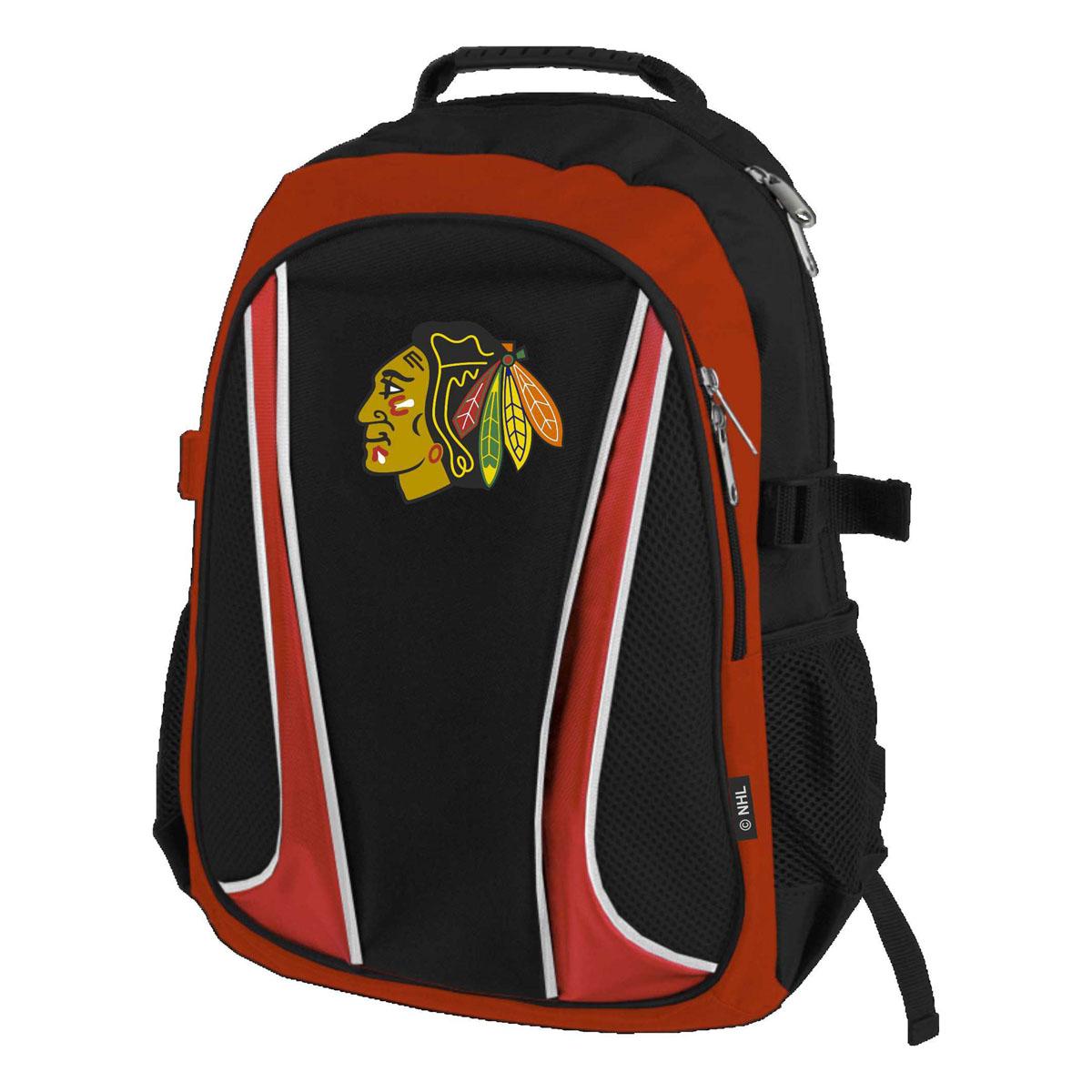 Рюкзак спортивный NHL Blackhawks, цвет: черно-красный, 18 л. 5800258002Модель декорирована контрастной отделкой, имеет одно основное вместительное отделение и большой нашивной карман с застежками на молнии, а также два дополнительных кармана из плотной сетки. Уплотненная «спинка» обеспечивает комфортное анатомическое прилегание к спине, не стесняющее движений. Рюкзак оснащен удобными лямками с фиксаторами длины и пластиковой ручкой. Производство: Atributika & Club (Китай). Состав:100% полиэстер.