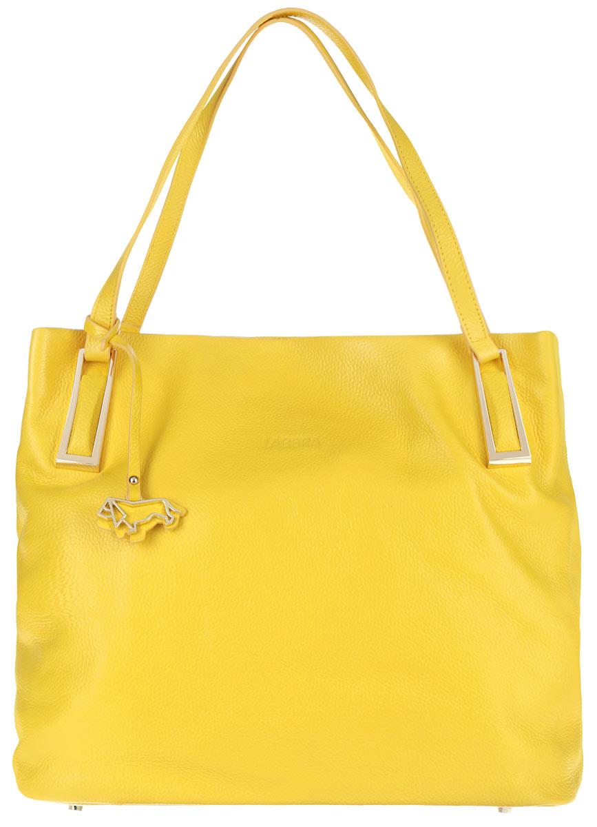 Сумка женская Labbra, цвет: желтый. L-SD1042L-SD1042Оригинальная женская сумка торговой марки Labbra выполнена из натуральной кожи с зернистой фактурой и застегивается на металлическую застежку-молнию. Сумка состоит из одного вместительного отделения, разделенного карманом-средником на молнии. Сумка содержит два нашивных открытых кармана для мелочей и мобильного телефона, врезной карман на пластиковой застежке-молнии. Снаружи, на задней стенке сумки, расположен прорезной кармашек на молнии. Изделие оснащено удобными ручками, декорированные металлическими элементами и фирменным брелоком в виде собаки. Дно сумки дополнено металлическими ножками, которые защищают изделие от повреждений. Лицевая сторона сумки оформлена тиснением логотипа бренда. Прилагается фирменный текстильный чехол для хранения. Оригинальный аксессуар позволит вам завершить образ и быть неотразимой.