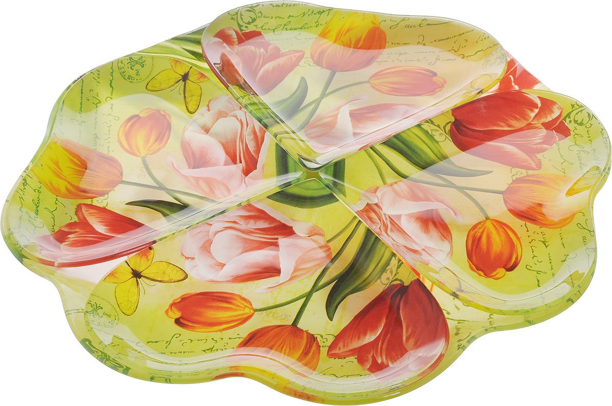Набор столовой посуды Loraine, 5 предметов. 2389823898Набор столовой посуды Loraine включает 4 тарелки в форме сердца и большое вращающееся блюдо в форме цветка, на котором они располагаются. Изделия выполнены из высококачественного закаленного стекла, декорированы красочным изображением цветов. Предметы набора сочетают в себе изысканный дизайн с максимальной функциональностью. Оригинальность оформления тарелок придется по вкусу и ценителям классики, и тем, кто предпочитает утонченность и изящность. Набор тарелок послужит отличным подарком к любому празднику. Можно мыть в посудомоечной машине. Размер тарелки: 19 х 16 см. Диаметр блюда: 34,5 см. Высота блюда: 3 см.